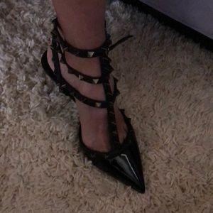 "Black patent studded heel shoes 3"" heel"